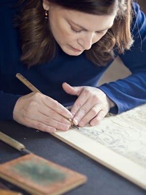 Erin Nolan gives a demonstration of her woodblock print and fine point etching techniques from 11 a.m. to 1 p.m. Nov. 25 at Plum Bottom Pottery & Gallery.