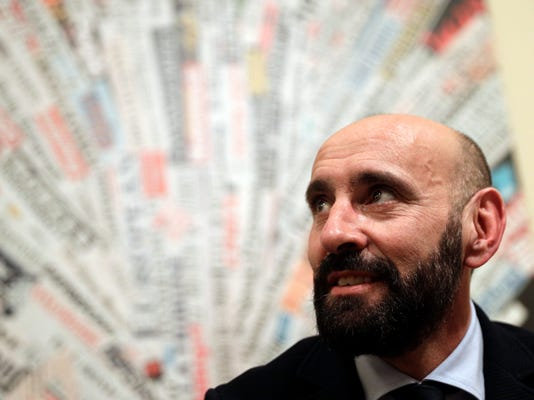 Roma sports director Ramon Rodriguez Verdejo, known as Monchi, talks to journalist during a press conference, at the foreign press association headquarters, in Rome, Wednesday, March 28, 2018. (AP Photo/Andrew Medichini)
