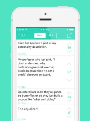 A screenshot of the Yik Yak app.