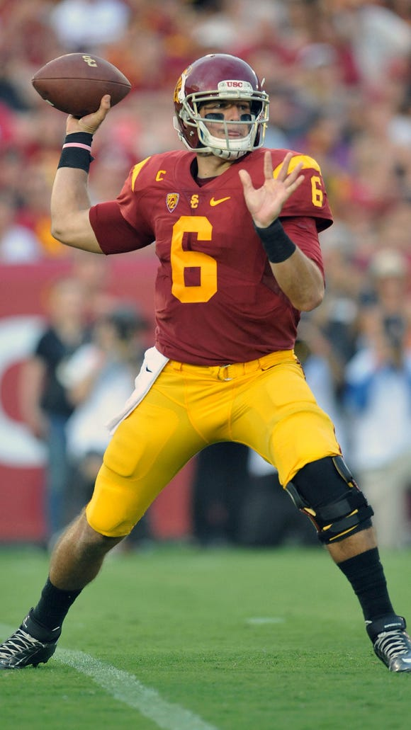 September 12, 2015; Los Angeles, CA, USA; Southern California Trojans quarterback Cody Kessler (6) throws against the Idaho Vandals during the first half at Los Angeles Memorial Coliseum. Mandatory Credit: Gary A. Vasquez-USA TODAY Sports