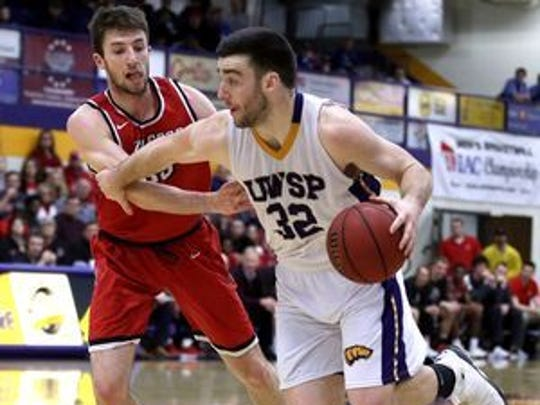 Canon O'Heron (32) was a first team All-WIAC selection after helping the Pointers win the WIAC Tournament.