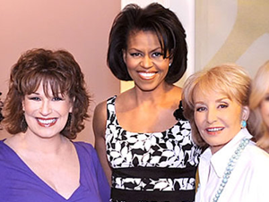 Michelle Obama is pictured in the Donna Ricco dress