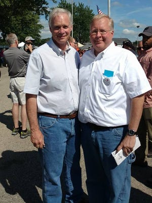 Ron Johnson (left) and Phil Anderson pose  at the Racine County Fair