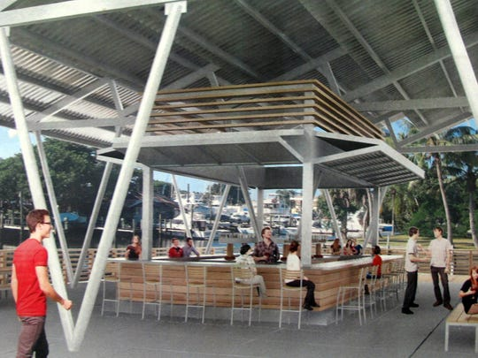 A rendering of the tiki bar and covered seating area of the food truck park planned along Haldeman Creek at Becca Avenue and Bayshore Drive in East Naples.