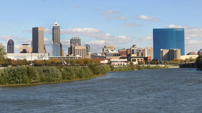 Downtown Indianapolis skyline, looking south down the White River from New York Street, October 10, 2012.