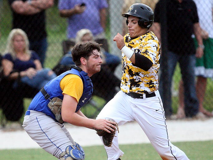 Bishop Verot's Danny Tufariello scores against Clewiston at Bishop Verot High School on Thursday.