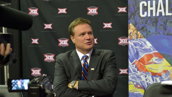 Kansas Jayhawks coach Bill Self answers questions from media during the Big 12 Media Day at Sprint Center.