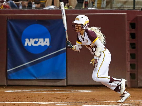 ASU's Kindra Hackbarth (22) hits a fly-out in the first inning against South Carolina during the NCAA Super Regional at ASU Farrington Stadium in Tempe, Ariz. on May 25, 2018.