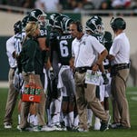 Michigan State head coach Mark Dantonio on the sidelines during third quarter action against Jacksonville State on Friday, August 29, 2014 at Spartan Stadium in East Lansing.