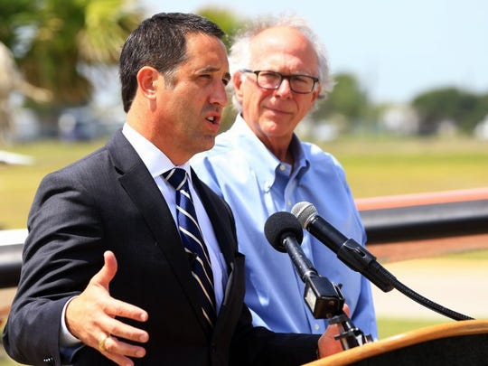 GABE HERNANDEZ/CALLER-TIMES Texas Comptroller Glenn Hegar talks Monday about the results of a study examining the economic impact of the naval air stations in Corpus Christi and Kingsville.