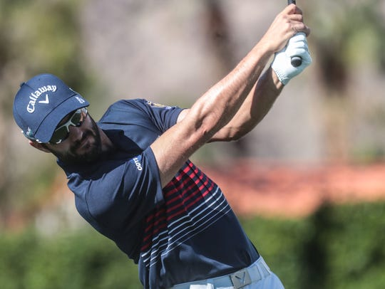 Adam Hadwin tees off on 1 at La Quinta Country Club