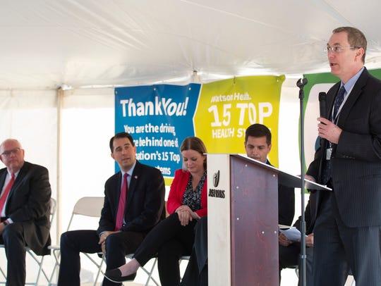 Matt Heywood, President and CEO of Aspirus speaks during