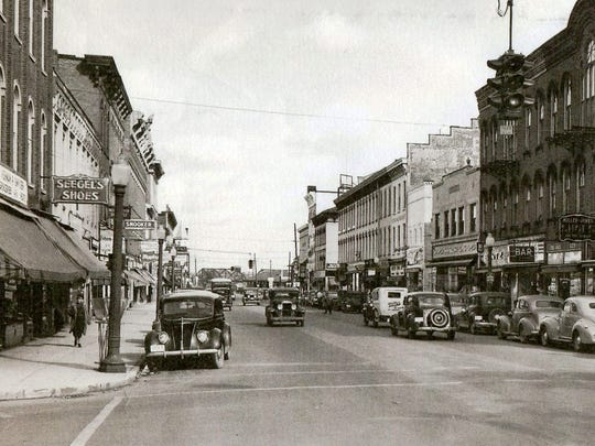 A view of Front Street, looking north from Garrison Street, in the 1940s.