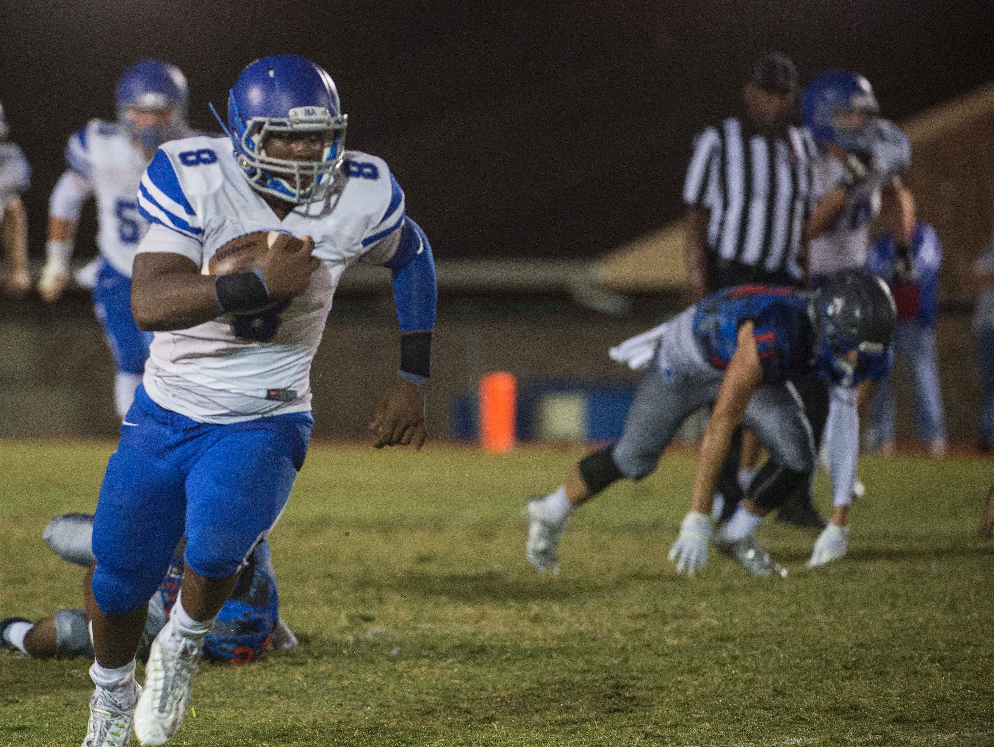 BGA's Jaylen Frierson had 147 receiving yards on 7 catches and scores a crucial touchdown in over time at Page High School on Saturday Sept. 26, 2015, in Franklin in Tenn.