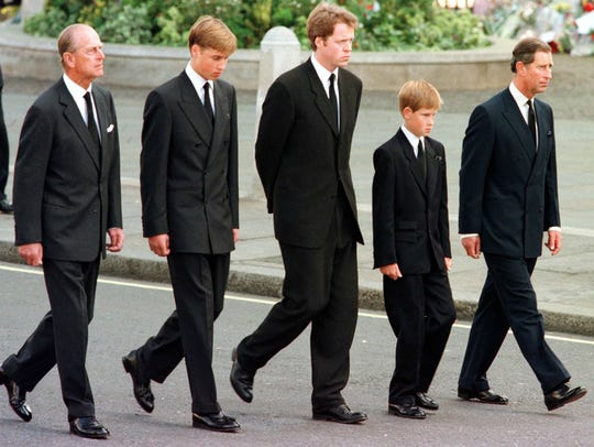 March of the princes at Diana's funeral: Prince Philip,