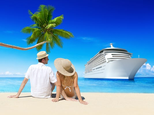 Couple on the Beach with Cruise Ship