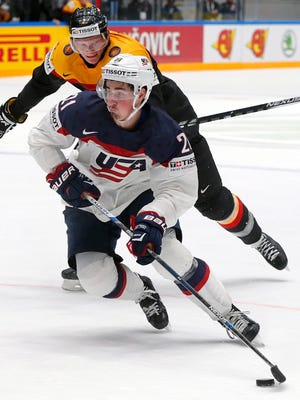Dylan Larkin of the USA plays against Germany in St. Petersburg, Russia, on May 15, 2016.