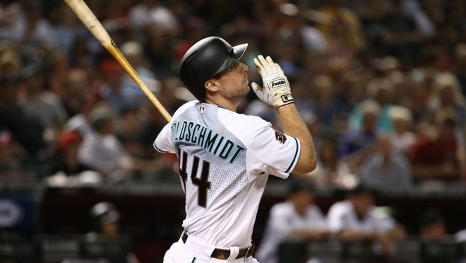 Arizona Diamondbacks  Paul Goldschmidt hits a solo home run against the New York Mets in the 1st inning on June 15, 2018 at Chase Field in Phoenix, Ariz.