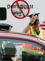 Washington Metropolitan Police conduct a sobriety checkpoint
