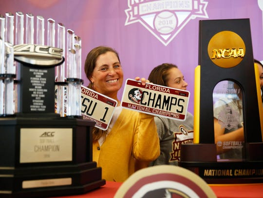 Florida State softball head coach Lonni Alameda poses