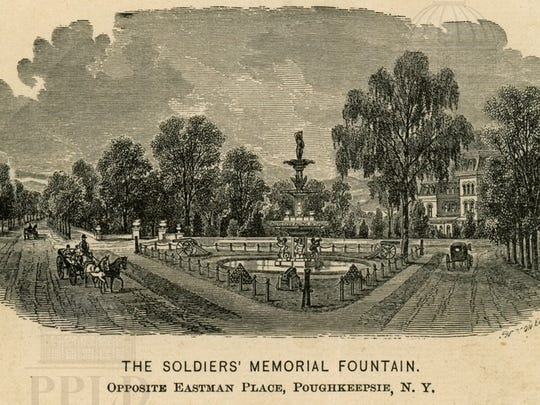 An engraving of the Soldiers Memorial Fountain, which was built in 1875.