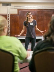 Alena Swango (#39) sings during auditions for the Footloose musical at the Pensacola Cultural Center in Pensacola on Monday, April 3, 2017.