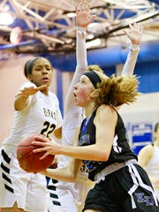Kennard-Dale's Lexie Kopko, shown here driving to the hoop in a game last season, led the Rams with 20 points in their 56-44 loss to Bishop McDevitt in the District 3 Class 4-A semifinals on Tuesday. DISPATCH FILE PHOTO
