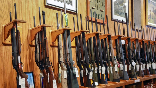 Rifles for sale at Chuck's Firearms in Atlanta, Georgia, on Feb. 13, 2018. The recently relocated gun store caters to sport shooters, hunters and collectors.