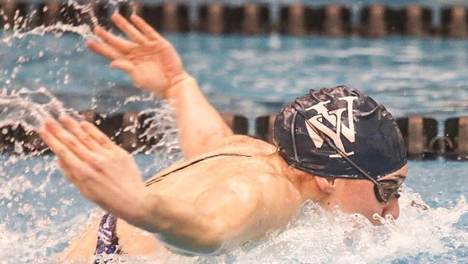 West York's Courtney Harnish swims in the girls' 100-yard butterfly, during the 2017 York-Adams League Swimming Championships Thursday at the Central York Aquatic Center. Harnish broke her old league record with a time of 54.93 seconds. She'll be competing in her latest national event this week at the U.S. National Championships in Indianapolis.
