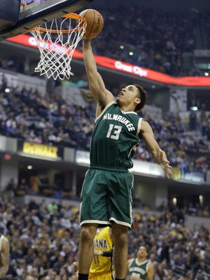 Malcolm Brogdon puts up a shot during the first half Feb. 11 in Indianapolis.