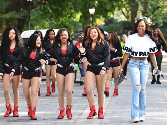 """Dianna (Miss D) Williams, righ, and members of her Dancing Dolls team are featured in """"Bring It! Live,"""" due Sunday at the Fox."""
