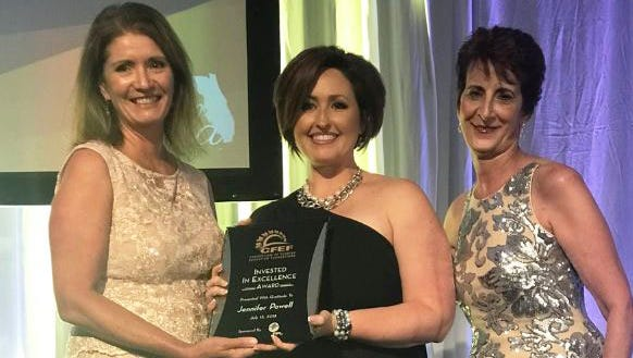Jennifer Powell (center), 2018 Invested in Excellence award winner, with Maureen Wilt (right), Education Manager at Florida Power & Light and Mary Chance (left), President/CEO, Consortium of Florida Education Foundations