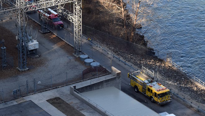 Emergency vehicles respond Thursday to a report of a fire at the Bull Shoals Dam powerhouse.