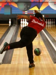 North Rockland's Akina Deloatch bowls in the Section