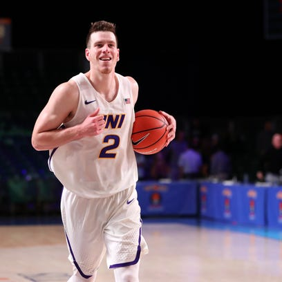 Northern Iowa Panthers forward Klint Carlson (2) reacts