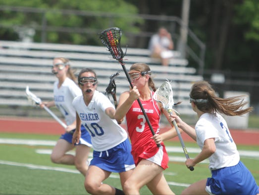 Action during a New York State girls lacrosse Class