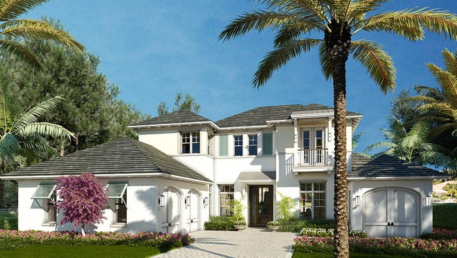 A rendering of a two-story home in The Enclave of Distinction community being built on Livingston Road in North Naples.