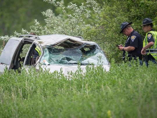 Indiana State Police investigate a one-vehicle accident