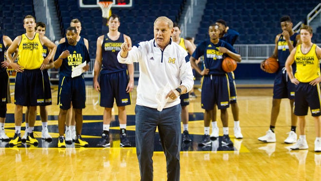 John Beilein leads a Michigan basketball practice in October.