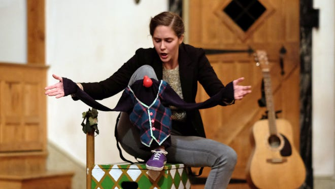 """From MBC's Sweet Wag Shakespeare Theater Company, Adrienne Johnson portrays Adam in """"As You Like It,"""" performed at the Blackfriars Playhouse in Staunton on Dec. 6, 2015."""