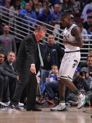 MSU coach Tom Izzo expresses his displeasure at guard