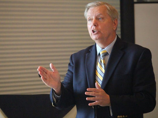 U.S. Sen. Lindsey Graham speaks Aug. 9 to the Seneca
