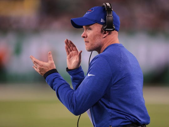 Nov 2, 2017; East Rutherford, NJ, USA; Buffalo Bills head coach Sean McDermott coaches during the first half against the New York Jets at MetLife Stadium. Mandatory Credit: Vincent Carchietta-USA TODAY Sports