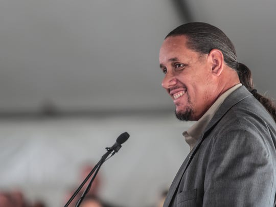 Jeff Grubbe, chairman of the Agua Client Band of Cahuilla Indians, speaks at the groundbreaking ceremony for the  Agua Caliente Cultural Museum in Palm Springs on Friday, May 11, 2018.