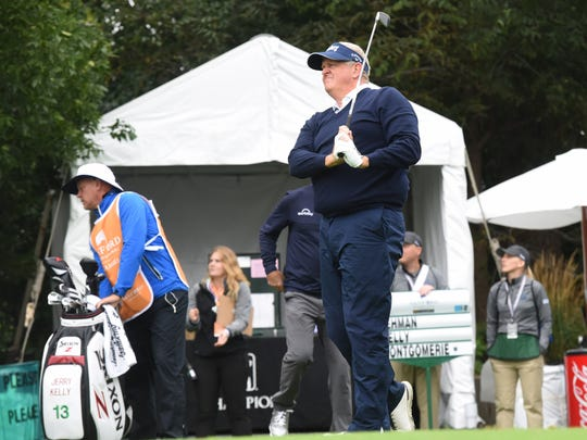 Colin Montgomerie competes in the Sanford International on Friday, Sept. 21, 2018 in Minnehaha Country Club in Sioux Falls, S.D.