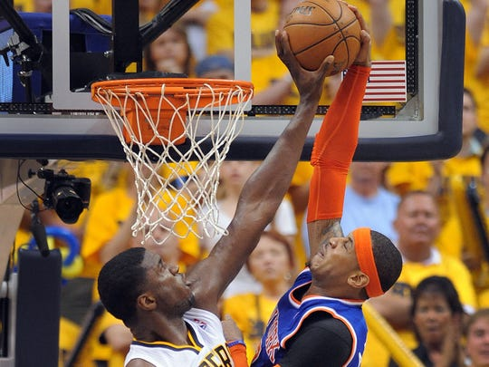 Roy Hibbert (All-Star in 2011-12, 13-14) blocks the dunk attempt by the Knicks Carmelo Anthony in Game 6 of the Eastern Conference semifinals on May 18, 2013.
