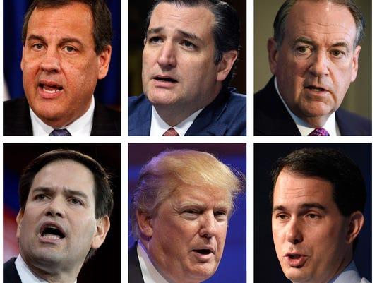 Jeb Bush, Ben Carson, Chris Christie, Ted Cruz, Mike Huckabee, John Kasich, Rand Paul, Marco Rubio, Donald Trump, Scott Walker