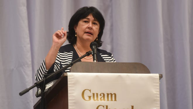 Attorney General of Guam Elizabeth Barrett-Anderson delivers a speech during the Guam Chamber of Commerce General Membership Meeting at the Sheraton Laguna Guam Resort in Tamuning on March 29, 2017.