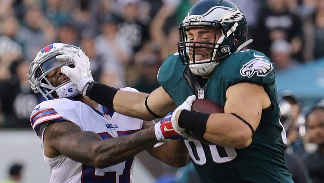 Tight end Zach Ertz, shown against Buffalo on Dec. 13, is second on the team in receptions with 66 and yards with 701.