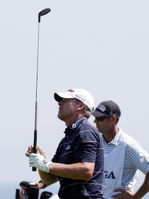 Steve Stricker hits his tee shot on the 6th hole during the third round of the PGA Championship at Whistling Straits.
